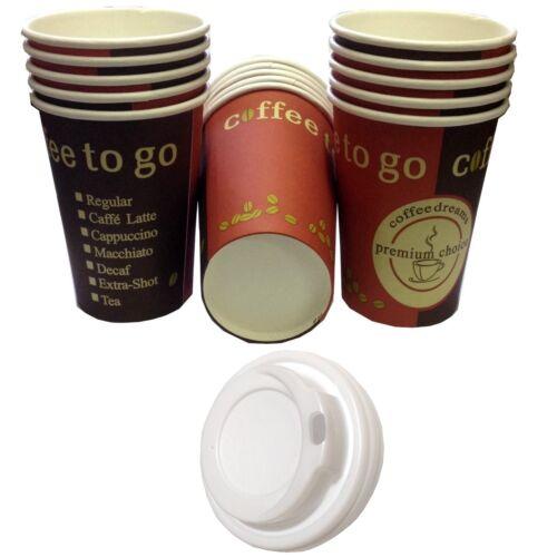 Kaffeebecher 300ml Hartpapier Pappbecher Cups Coffee to go mit//ohne Deckel 0,3l