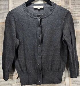 Ann-Taylor-LOFT-Gray-Button-Up-Cardigan-Size-XS-S-Small-100-Pima-Cotton