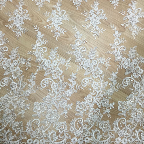 Blossom Wedding Dress Lace Fabric Off White Embroidery Bridal Gown DIY Trim 0.5M