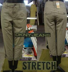 DKNY Jeans Ladies' Twill Cropped Pants-GREEN-Si<wbr/>ze 2-NWT