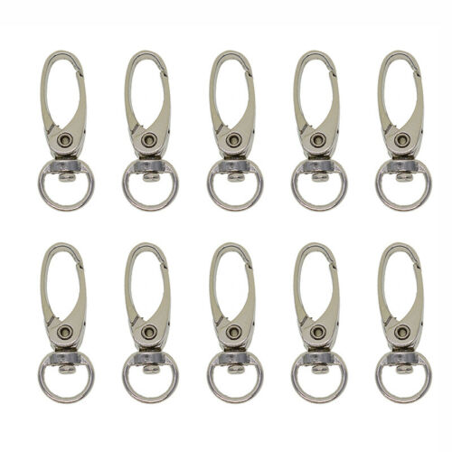 10pcs Swivel Lobster Clasp Clips Hook Alloy Keychain Split Key Ring Durable