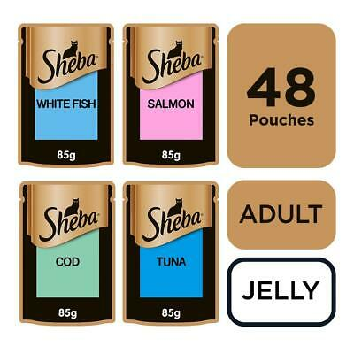 Sheba Fine Flakes Adult Wet Cat Food Pouches Fish in Jelly 48x85g Pouches