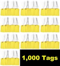 1000 Pcs 4 34 X 2 38 Size 5 Yellow Cardstock Hang Tag Tags With Wire 13 Pt