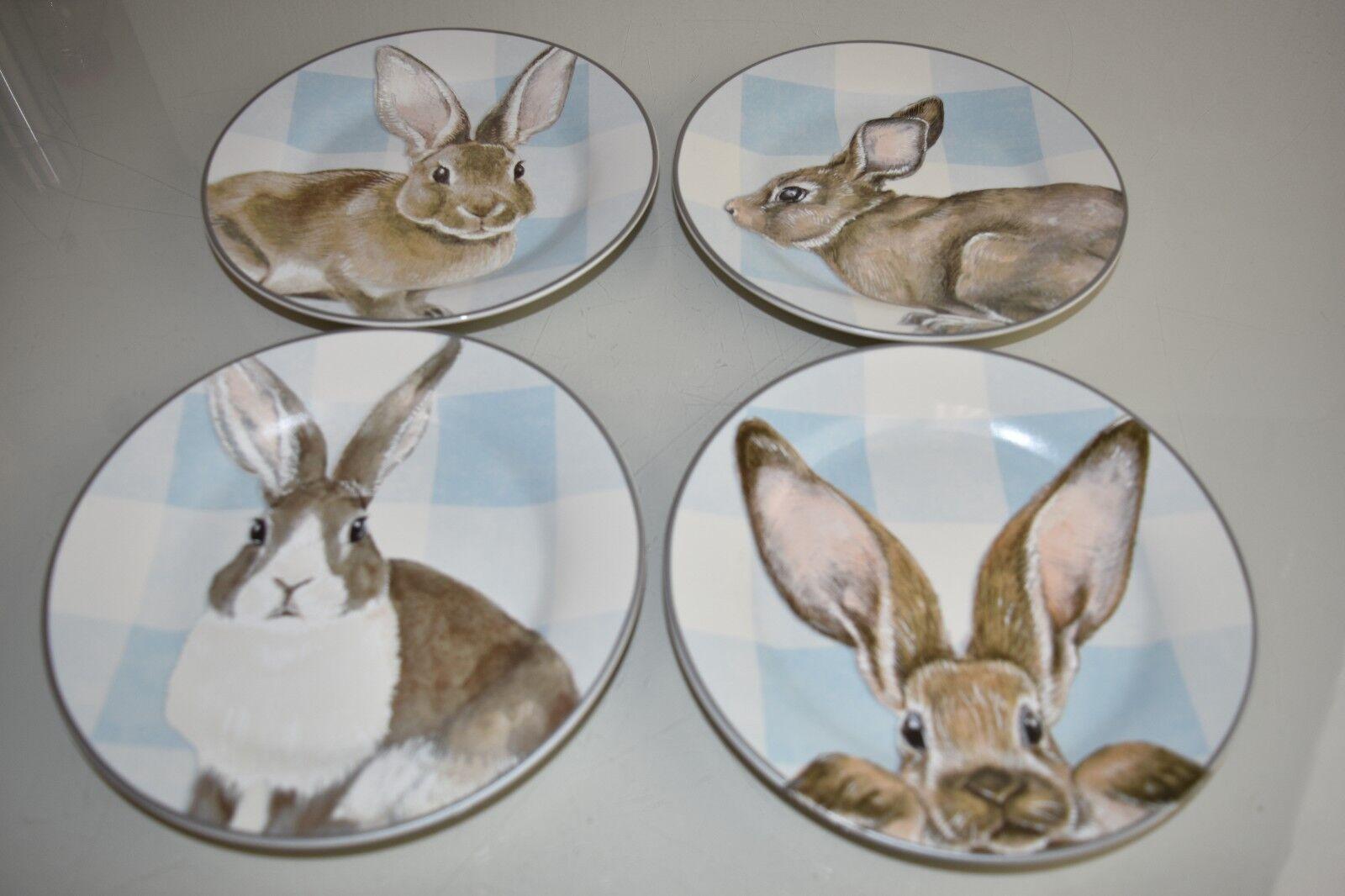 Nouvelle Williams Sonoma Vichy Bunny assiettes à salade 4 Pc Set Bleu Blanc Paques 16 AVA