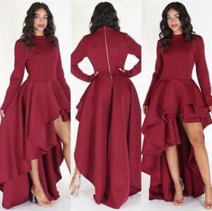 b9a024ab75b413 Women's Long Sleeve Runway High Low Peplum Top Dress Party Club Gown ...