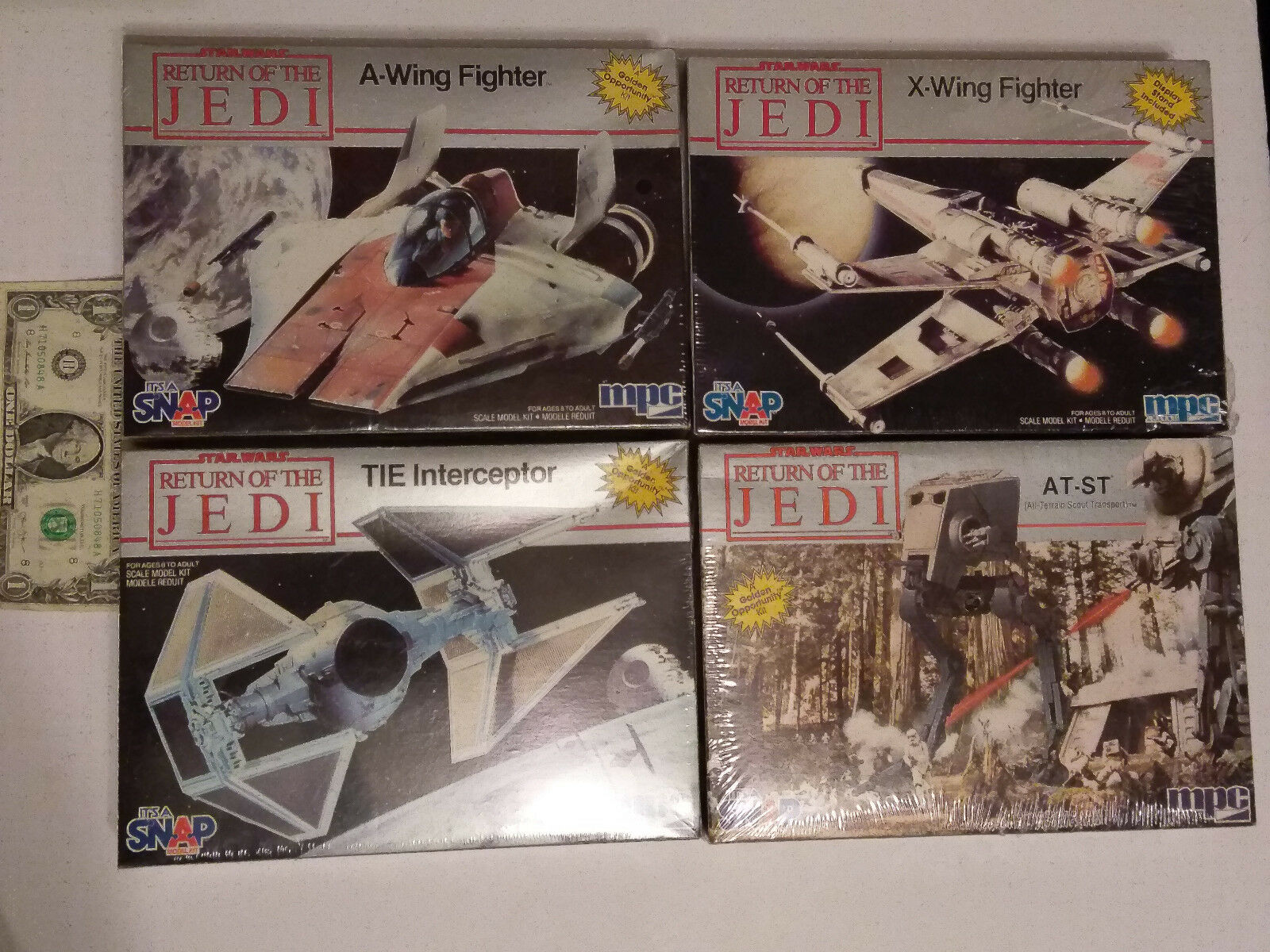 Set of 4 Star Wars redJ models A-Wing, X-Wing, Interceptor, AT-ST X-Wing made in