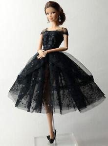 Handmade-Princess-Black-Dress-Lace-Silk-Clothes-Outfit-For-Barbie-Doll-Barbie