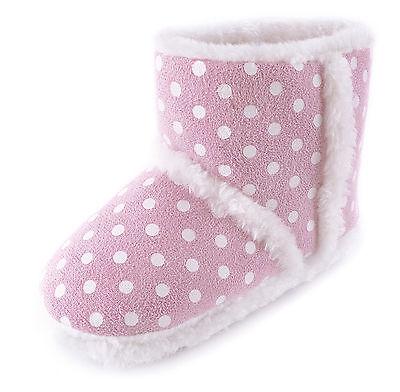 Para Niños Niñas Polka Dot spoty forrado de piel Zapatillas Botas Zapatos Rosa Azul Tamaño 9-3