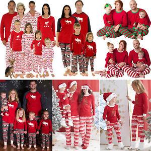 Family Matching Pajamas Set Sleepwear Nightwear Kids Adult Pyjamas Outfits 2Pcs