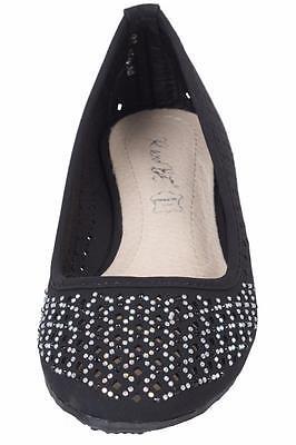 Nuevo Para Mujer Damas Slip On Plana Perforada Bailarina Ballet Bombas Zapatos Casuales