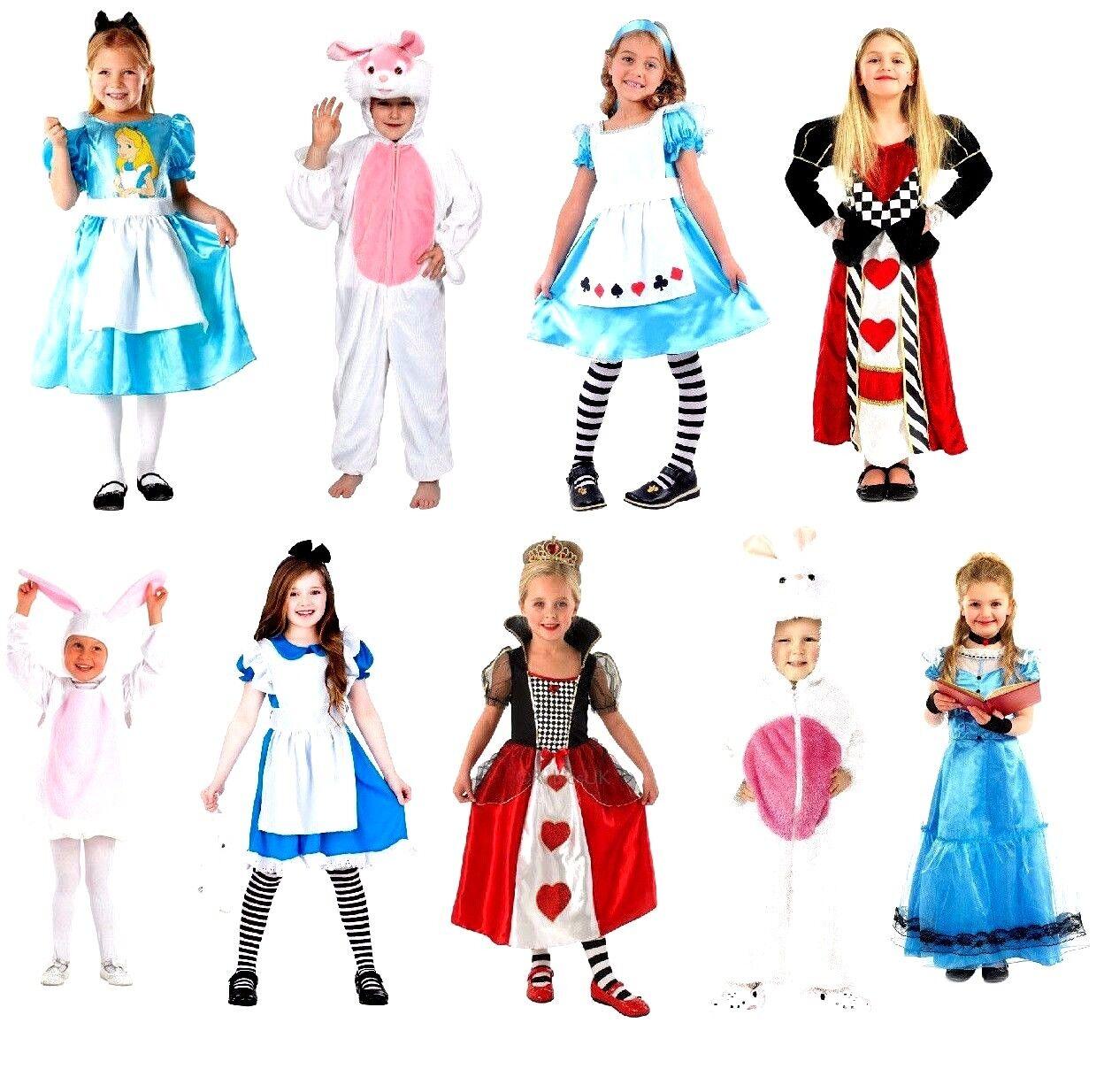 Child ALICE IN WONDERLAND Characters Unisex Fancy Dress Costume Book Week Day