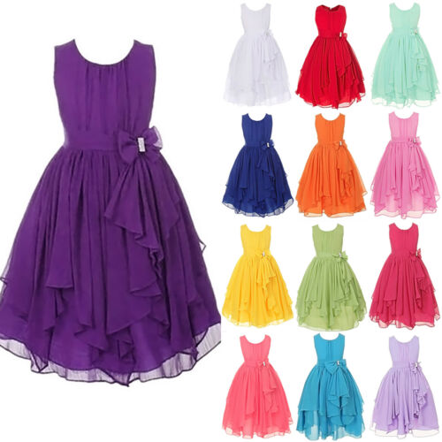 Girls Bridesmaid Skater Casual Dresses Kids Summer Party Belle Dress For 2-12Yrs