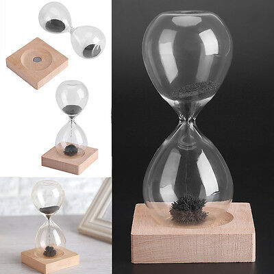 16cm Magnet Magnetic Iron Hourglass Sand Timer Clock Transparent Glass Wood Base