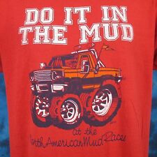 vtg 80s NORTH AMERICAN MUD RACE MONSTER TRUCK PAPER THIN 2-SIDED T-Shirt L bog