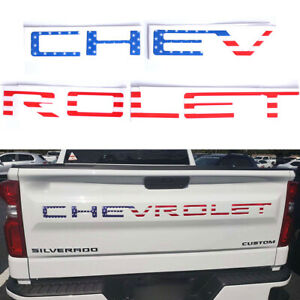2019-20 Silverado 1500 2500 3500 US Flag CHEVROLET Letters Tailgate Insert Decal