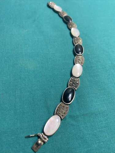 Sterling Silver Black Onyx/Marcasite/Mother Of Pea