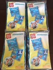 Kids Inflatable Ocean Dolphin Fish Armbands Swimmies Lot Of 4 Blue Ages 3-6 NEW