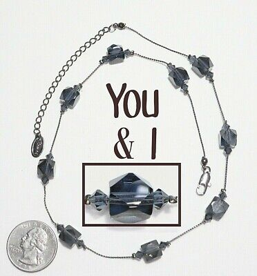 Blue Beige Necklace Approximately 27 12\u201d Long Rectangle Blue Crystal Soldered Crystal Pendant on Beautiful Beaded Chain in Colors Gray