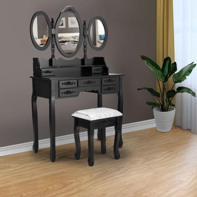 Bedroom Dressing Vanity Table Set 3mirror & 7drawer Black Vanity Makeup Desk