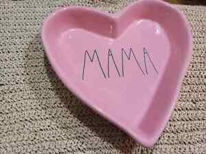 Rae Dunn MAMA Heart Pink Dish  Trinket Dresser Tray  NEW Never used
