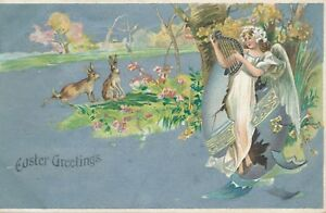 EASTER-Two-Rabbits-and-Angel-Playing-Lyre-1907