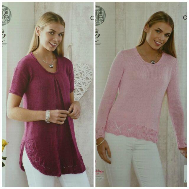 King Cole 5090 dk Knitting Pattern Ladies Sweater /& Top in bamboo wool