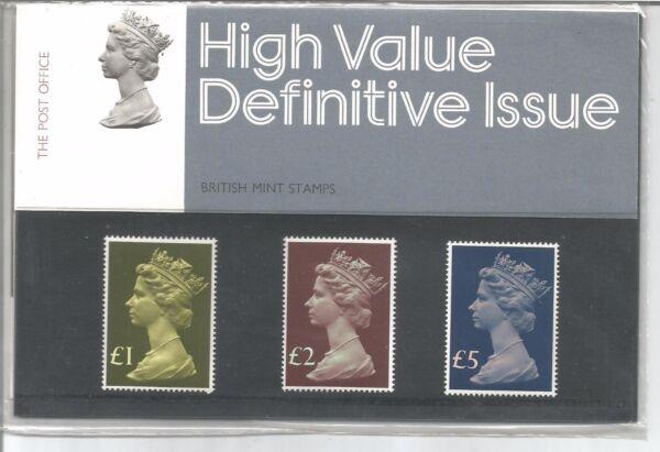 1977 Valeurs élevées £ 1 - £ 5 Definitive Presentation Pack Numéro 9