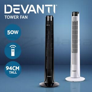 Devanti-Portable-Tower-Fan-Remote-Control-Floor-Cross-Flow-Touch-Panel-Timer