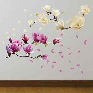 SMALL WHITE MAGNOLIA and Magnolia Flowers Wall Stickers for Bedrooms ...