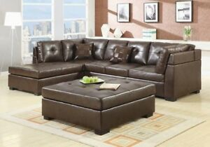 Darie Contemporary Brown Bonded Leather Sectional Sofa Living Room ...