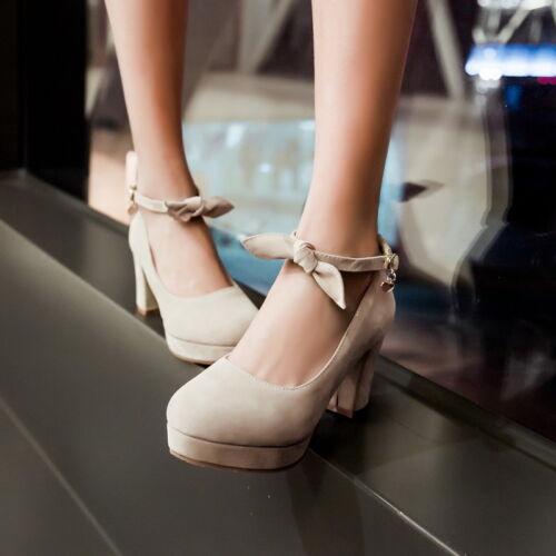 Pumps Block High Heel belt buckle Party Round Toe Heels Classic Shoes NDX0113