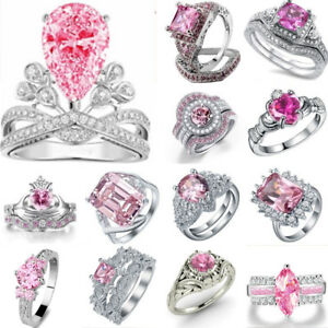 925-Silver-Sterling-Pink-Sapphire-Gemstone-Rings-Wedding-Engagement-Jewelry