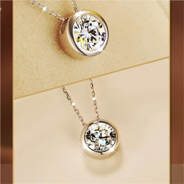 Women Fashion Round Single Crystal Rhinestone Silver Pendant Necklace Jewelry