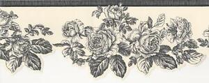Wallpaper-Border-Black-Line-Drawing-Rose-Toile-on-Off-White-Die-Cut-Bottom-Edge
