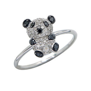 14K-WHITE-ROSE-GOLD-PAVE-BLACK-DIAMOND-PANDA-BEAR-ANIMAL-CREATURE-COCKTAIL-RING