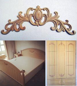 Unpainted a style wood oak carved corner onlay applique for Applique furniture decoration