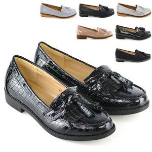 Mujer-Mocasines-Planos-Casual-Negro-Damas-frindge-Borla-Trabajo-Escuela-Zapatos-De-Salon