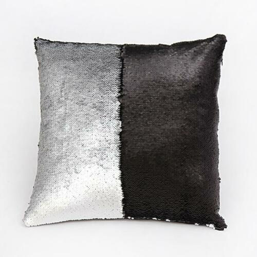 Reversible Sequin Magic Glitter Mermaid Pillow Cover Cushion Case Sofa Decor KV