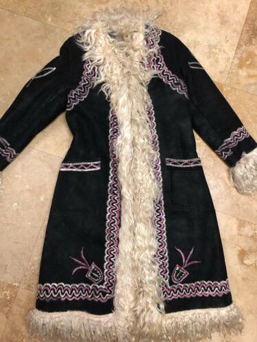 Vintage 70s Afghan Coat Jacket Sheepskin Embroider