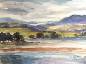 Signed Original  Watercolour 'Lake And Mountains'  by Annabel Burton