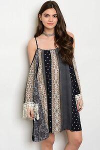 Tassels-amp-Lace-Boho-Cowgirl-Floral-Crochet-Cuf-Cold-Shoulder-Western-Dress-S-L