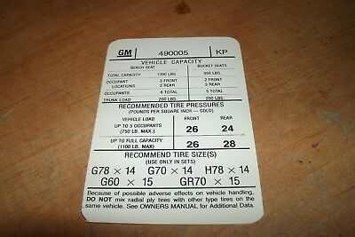 1965 GTO LeMans Tire Pressure Specifications Decal All EA