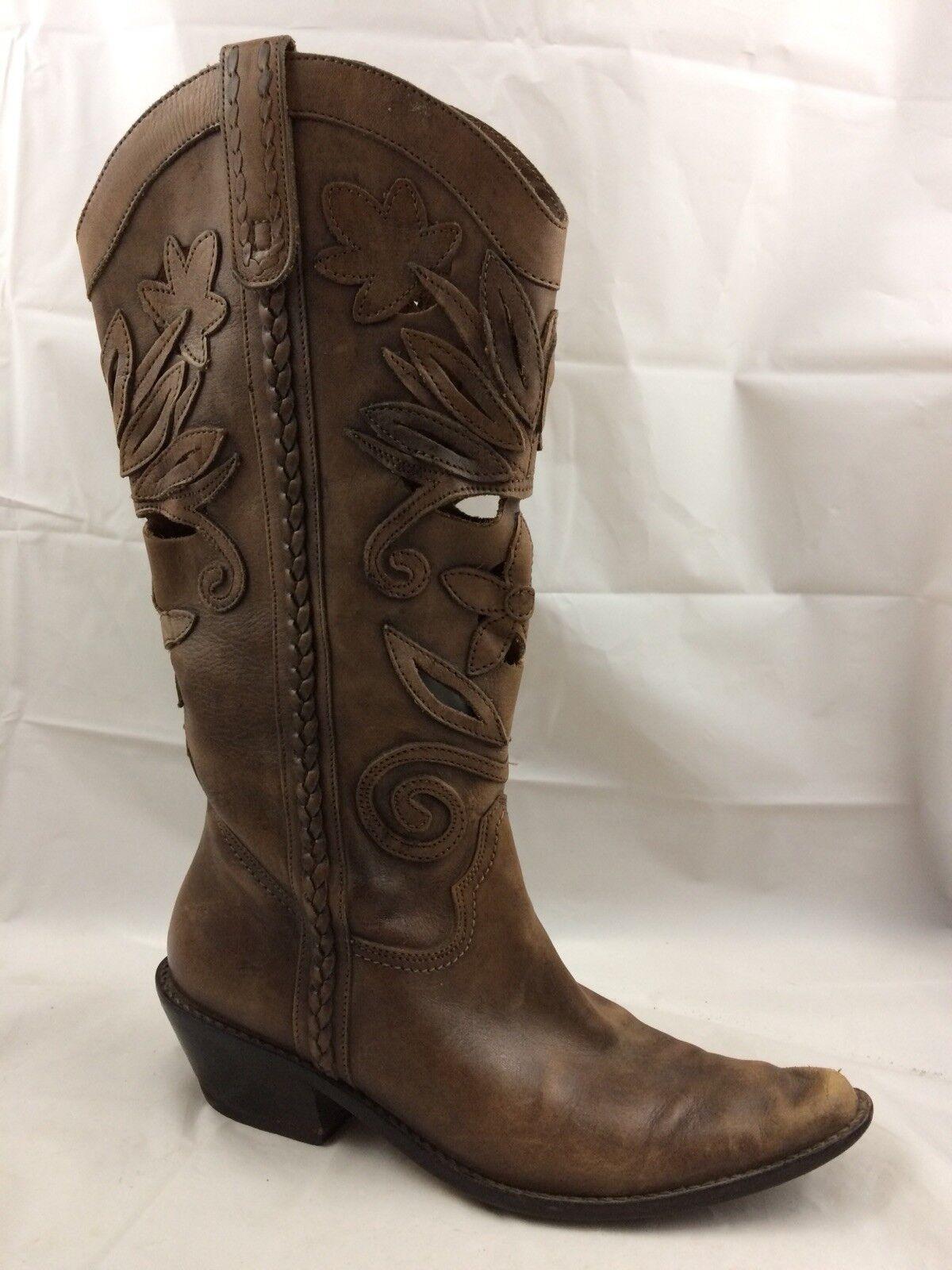 Matisse mujeres 6.5 M botas De Vaquero Cuero Marrón Alto de Floral en punta de Alto Corte 66962b