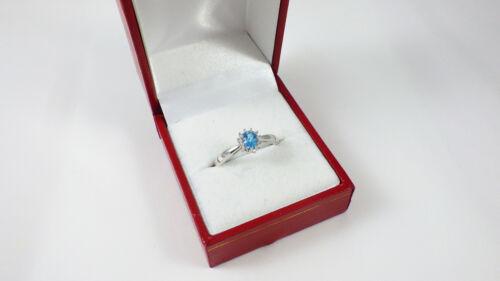STERLING SILVER BLUE TOPAZ /& DIAMOND CLUSTER ENGAGEMENT RING SIZE IJKLMNOPRSTUV