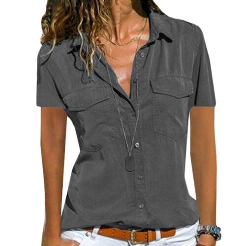 Damen Koucla Kurzarm Wickelbluse Shirt