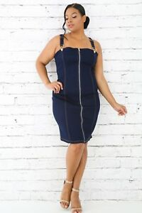 4691ace702 Image is loading Plus-Size-Comfortable-Overalls-Front-Gold-Zipper-Stretch-