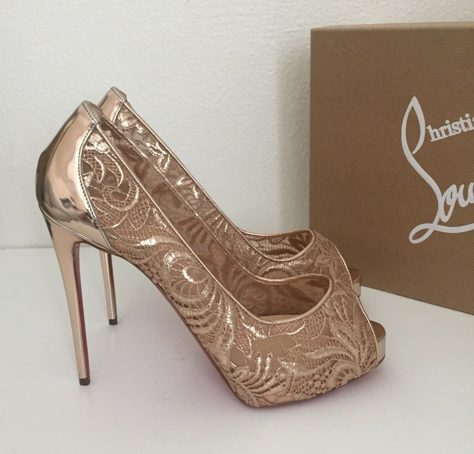 Christian Louboutin Very Lace pink gold Platform Open Open Open Toe Pump shoes sz 8   38.5 ad9d79