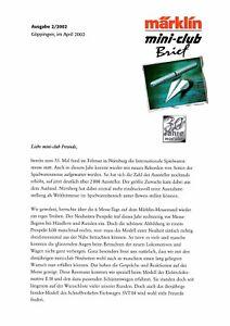 SincèRe Märklin Mini-club Lettre, édition 2/2002; Top-État-afficher Le Titre D'origine