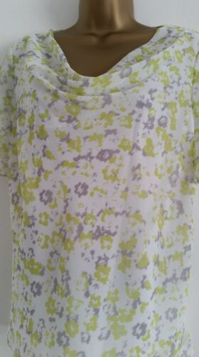 NEW M/&S 12-24 Lime Green White Chiffon Floral Printed Summer Holiday Top Blouse