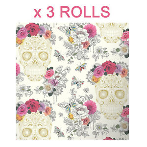Image Is Loading Sugar Skull Wallpaper Roses Flower Modern Hearts Floral